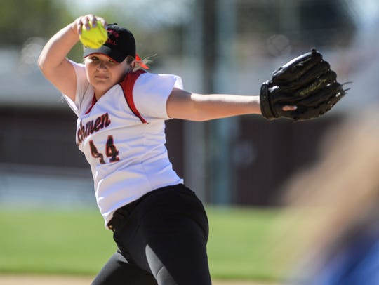 Annville-Cleona's Emma Lerchen delivers a pitch on