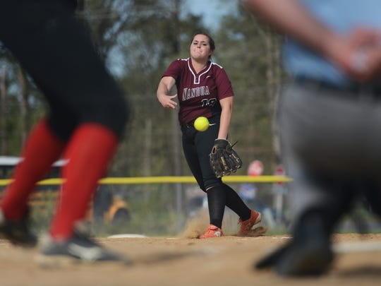 Nandua's Emily Justis delivers a pitch during the Warriors' softball game with Arcadia in Oak Hall, Va. on Tuesday, April 26, 2016. Nandua won the game 25-0.
