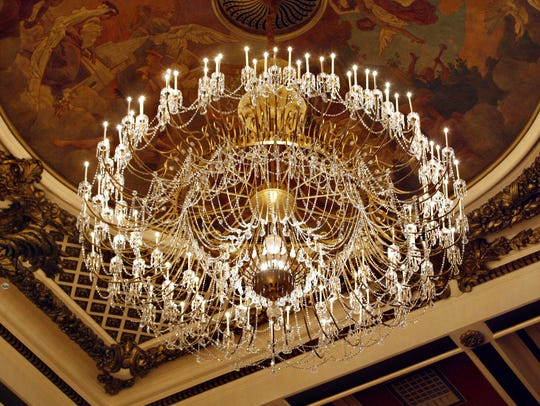 The  two-ton Czech crystal chandelier inside Music