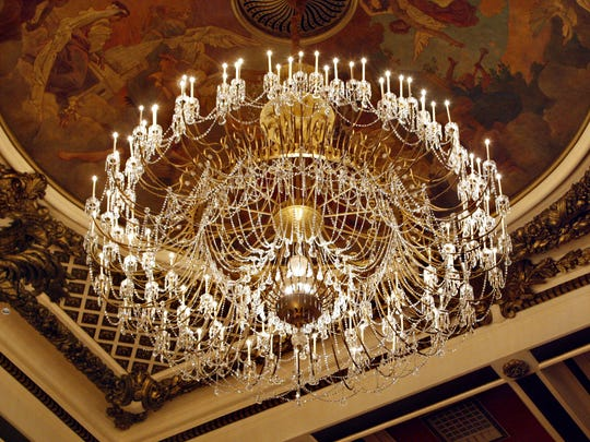 The  two-ton Czech crystal chandelier inside Music Hall.