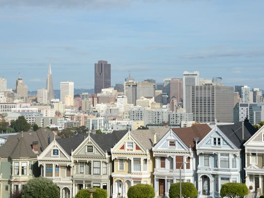 The downtown San Francisco skyline from Alamo Square.