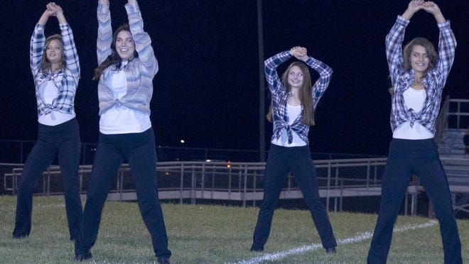 The Central Heights Dazzlers entertain the homecoming crowd with their halftime routine.