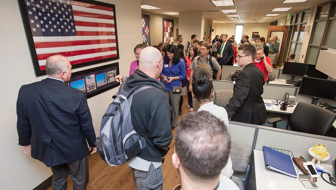 People toured the new Veterans and Miltiary Families  Center after it opened at MTSU on Thursday.