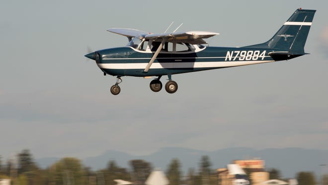 A 1969 Cessna 172 Skyhawk lands at Seattle-Tacoma International Airport on Aug. 22, 2016.