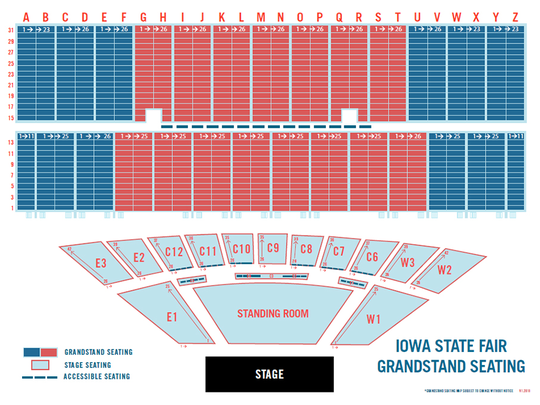 A screenshot of the Florida Georgia Line seating chart for the group's 2018 Iowa State Fair Grandstand concert. The Grandstand added about 4,000 seats this year as part of an estimated $7.5 million renovation.
