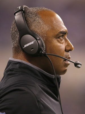Bengals head coach Marvin Lewis looks on in the second quarter during the preseason NFL game between the Cincinnati Bengals and Indianapolis Colts, Thursday, Sept. 3, 2015, Lucas Oil Stadium in Indianapolis.