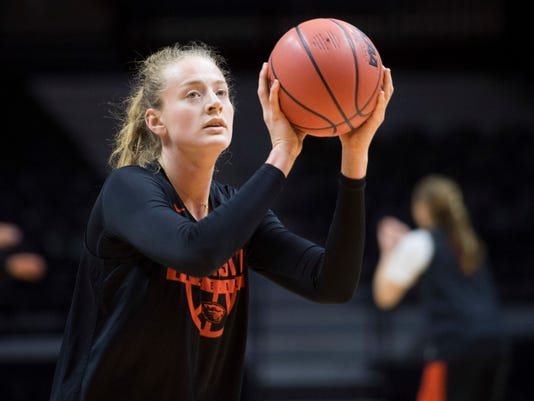 Oregon State's Marie Gulich shoots during practice at the NCAA women's college basketball tournament, Thursday,  March 15, 2018, in Knoxville, Tenn. Oregon State plays Western Kentucky in the first round on Friday. (Saul Young//Knoxville News Sentinel via AP)