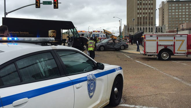 A car and UPS truck collided in downtown Jackson Tuesday afternoon.