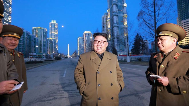This undated picture released by North Korea's official Korean Central News Agency on March 16, 2017, shows North Korean leader Kim Jong Un visiting construction sites in North Korea's capital, Pyongyang.
