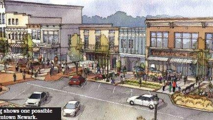 An artist's rendering shows a possible future design for downtown Newark.