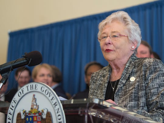 Governor Kay Ivey speaks during a press conference on Alabama School Safety on Tuesday, March 6, 2018, at the Alabama Capitol building.