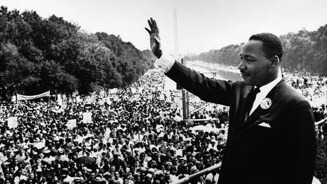 Martin Luther King Jr. addresses the crowd from the steps of the Lincoln Memorial, where he delivered his famous ?I Have a Dream? speech during the Aug. 28, 1963, March on Washington.