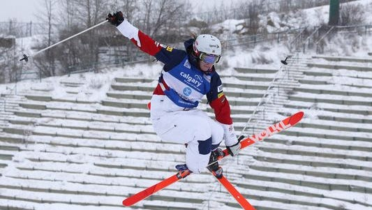 Olympic mogul skier Hannah Kearney of Norwich, Vt., competes during the women's World Cup freestyle moguls event in Calgary, Alberta, over the weekend. Kearney bested the two sisters who finished ahead of her in Sochi, on their home course, to earn her first World Cup win of the season.