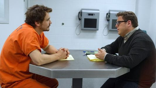 "James Franco (left) plays Christian Long and Jonah Hill plays Michael Finkel in ""True Story."""