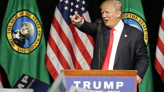 Republican presidential candidate Donald Trump speaks during a rally in Spokane, Washington on May 7.