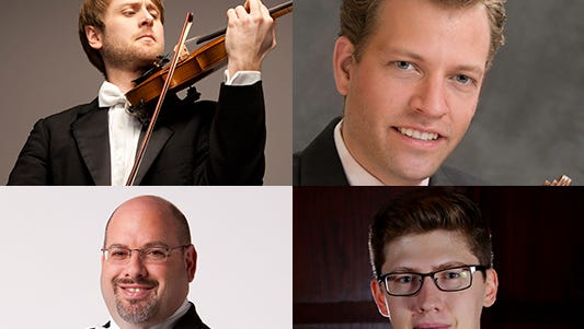 A new resident string quartet at the University of Indianapolis includes violinists Zach De Pue (clockwise from top-left) and Austin Hartman, cellist Austin Huntington and violist Michael Strauss.
