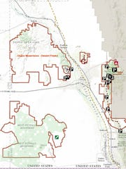 National Conservation Lands map showing areas included in the Organ Mountains-Desert Peaks National Monument.
