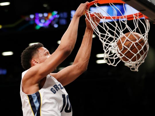 Memphis Grizzlies forward Ivan Rabb (10) dunks during