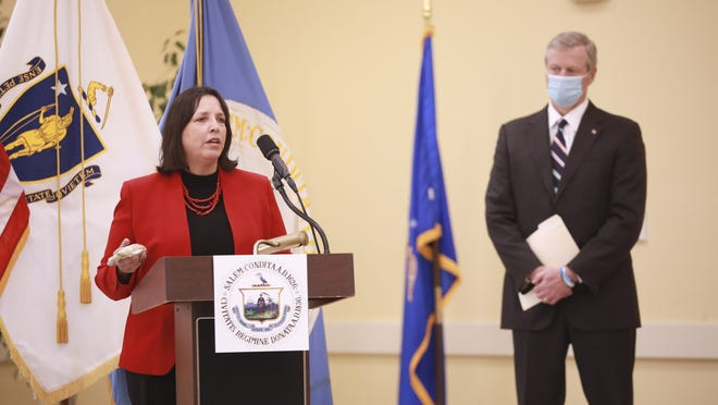 Gov. Charlie Baker joined Salem Mayor Kim Driscoll in a Wednesday, Oct. 21 press conference to announce public safety protocols for the rest of October, including Halloween night, in Salem.