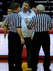 Bosse Head Coach Shane Burkhart disagrees with a foul