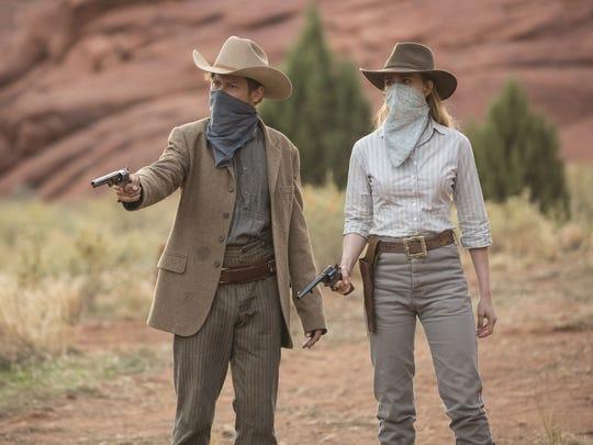 Jimmi Simpson and Evan Rachel Wood in HBO's 'Westworld.'