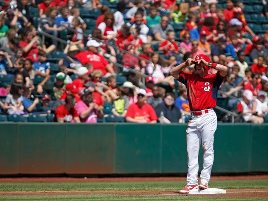 Harrison Bader stands at third during the Springfield