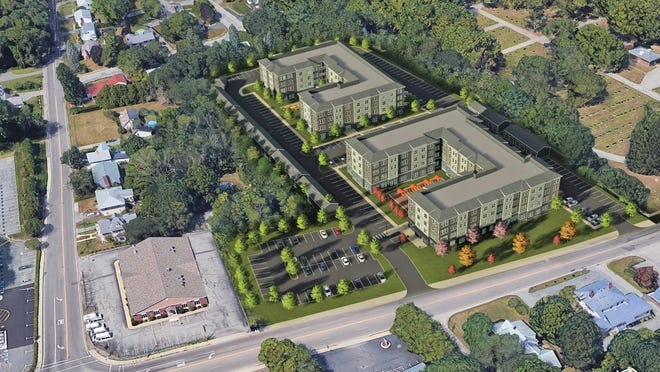 An aerial perspective is provided in a rendering of the proposed 196-unit apartment complex proposed at the site of the former Braemoor nursing home in Brockton at 34 N. Pearl St.