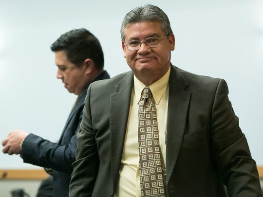 Doña Ana County Sheriff Enrique Vigil appears in 3rd Judicial District Court Jan. 25 for a hearing in the restraining-order lawsuit between Vigil and County Commission. Pictured behind Vigil is his attorney Gene Chavez.