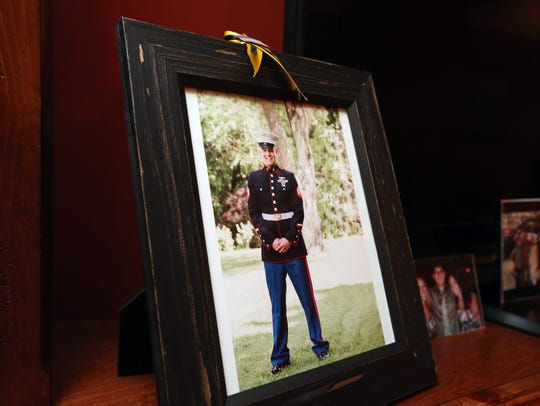 A recent photo of Marine Sgt. Owen Lennon is displayed
