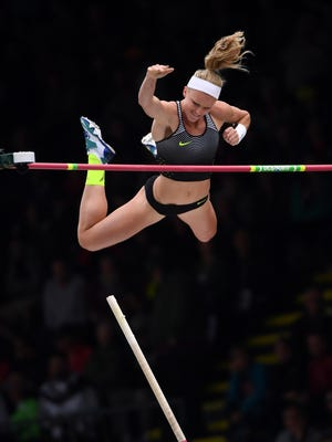 Jul 10, 2016; Eugene, OR, USA; Sandi Morris celebrates after placing second in the women's pole vault at 15-7 (4.75m) during the 2016 U.S. Olympic Team Trials at Hayward Field. Mandatory Credit: Kirby Lee-USA TODAY Sports