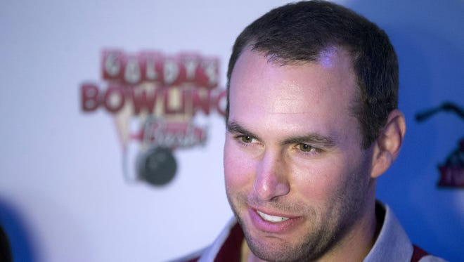 Paul Goldschmidt gives an interview during Goldy's Bowling Bash at Lucky Strike in Phoenix on February 22. 2018.