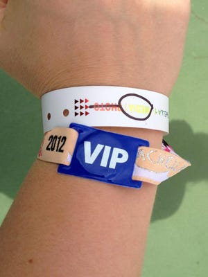 A VIP wristband to Coachella Valley Music and Arts Festival is shown in this April 2012 file photo.