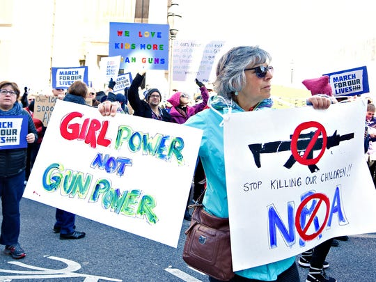 Marian Lorence, of East Manchester Township, joins hundreds during March For Our Lives, a rally to end gun violence, in York City, Saturday, March 24, 2018. Dawn J. Sagert photo