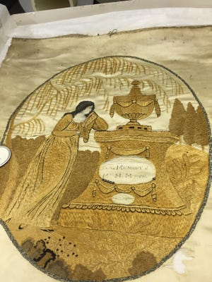 Preserved items at the Alabama Department of Archives and History include pieces from 1776, 1808, and this one from 1840 that features the silk-on-silk handcraft by an Alabama needleworker. (Contributed)