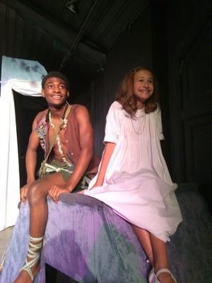 """Kendrick Golson, left, plays Peter Pan and Piper Doyle is Wendy Darling in the new Cloverdale Playhouse production of """"Peter Pan."""""""