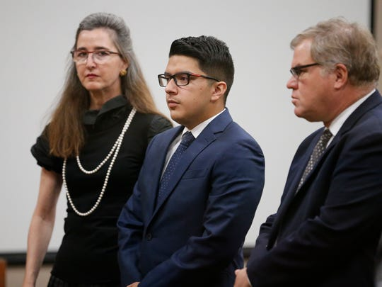 Marco Antonio Nava, center, along with his attorneys, stands before 210th District Judge Gonzalo Garcia on Monday before accepting a plea agreement in connection with the fatal shooting of Christian Jorjorian in West El Paso in August 2016.