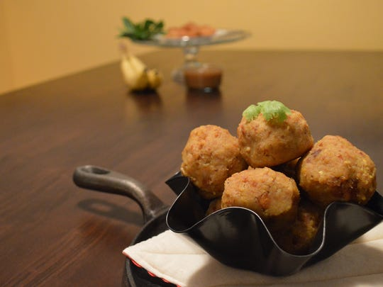 Mofongo is rolled into 2-inch spheres to create Puerto Rican plantain balls.