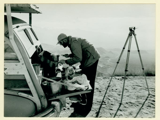 Works by Ansel Adams, the venerated photographer of the American West, are back at the Eiteljorg Museum. Some 80 of his photos, the ones he personally selected as his best (out of the tens of thousands he produced), will go on display March 1. Here is Ansel Adams cooking on the tailgate of his station wagon.