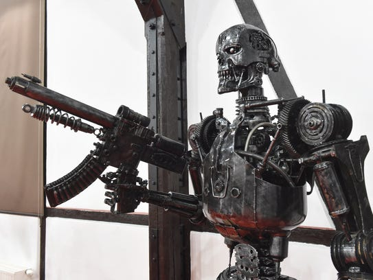A Terminator inspired sculpture is on display in the