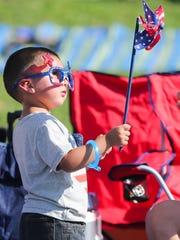 Mason Bara, 2, shows his colors at the July 3rd Pops Concert in San Angelo.