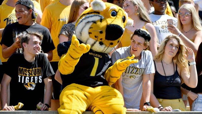 Missouri mascot Truman the Tiger entertains fans during a game against West Virginia on Sept. 7 at Memorial Stadium.
