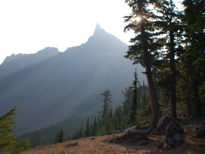 A view of Mount Thielsen from the trail junction with the Pacific Crest Trail. This makes a good turn-around spot on a trial that eventually leads to the mountain's summit.