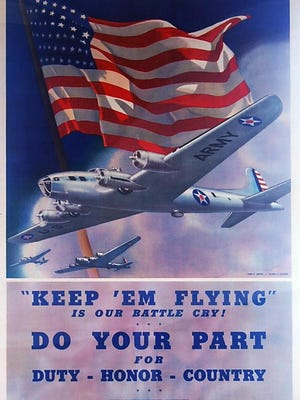 This is among the World War II posters in the Rallying the Home Front exhibit in the Johnson-Humrickhouse Museum in Coshocton through the end of the year. Photo provided.