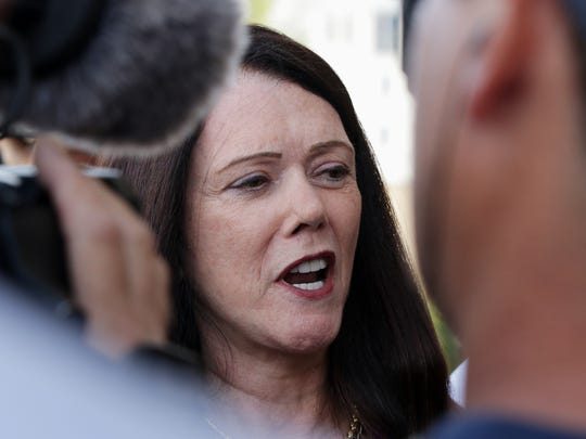 Steven Avery attorney Kathleen Zellner speaks in front of the Manitowoc County Courthouse Friday August 26, 2016 in Manitowoc.