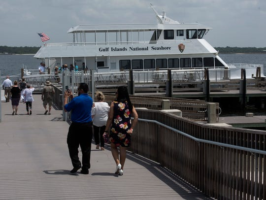 The new ferry Pelican Perch takes on a group of passengers