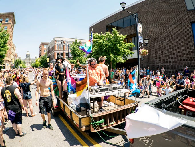 The Garden's float entry featured drag queens and DJ's