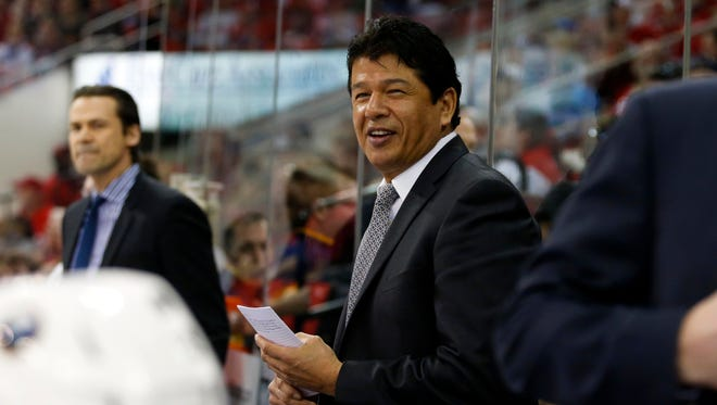 Buffalo Sabres coach Ted Nolan had the interim removed from his title after signing a contract extension.