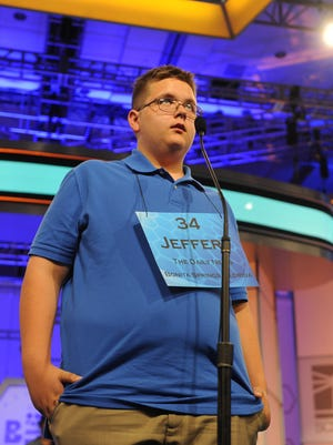 """National Harbor, MD, U.S.A -- Jeffery Thompson correctly spells """"habiliments"""" in round 3 of the 2015 Scripps National Spelling Bee in National Harbor, Md. on Wednesday, May 27, 2015. -- Photo by Evan Eile, USA TODAY Staff"""
