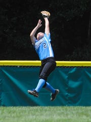 Delaware District 3 center fielder Taylor Collins snags