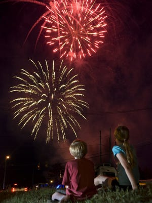 Fireworks light up the sky in Hope Mills during the 2010 Fourth of July celebration.